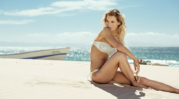 Strapless white bandeau bikini top with shiny studs